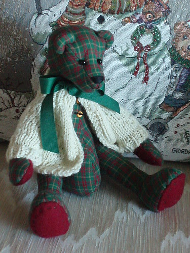 Kyler's quilted teddy bear with his sweater