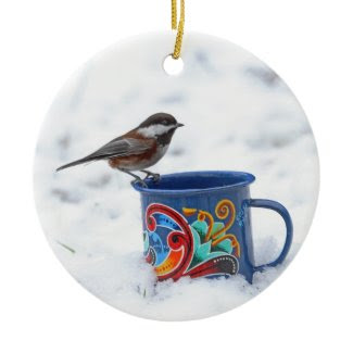 Chickadee in the Snow Christmas Ornament