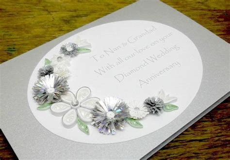 Quilled 60th diamond wedding anniversary card, handmade