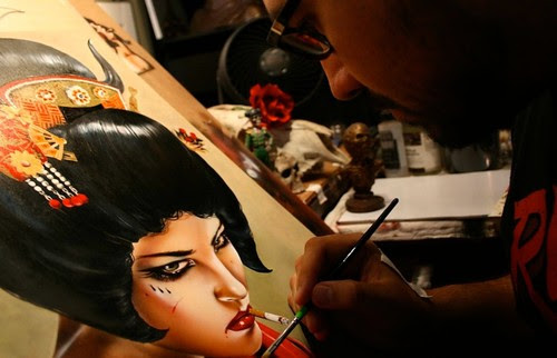 Brian M. Viveros at work on 'Rise of the Geisha' - destined for our 'LAX / HKG' curated show in Hong Kong this November at Above Second Gallery by thinkspace_gallery