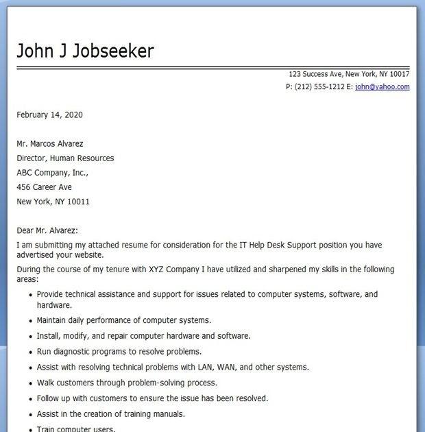 91 PDF HELP DESK COVER LETTER SAMPLE PRINTABLE DOWNLOAD ...