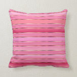 Pink and Gold Cotton Candy Pink Stripes Throw Pillow