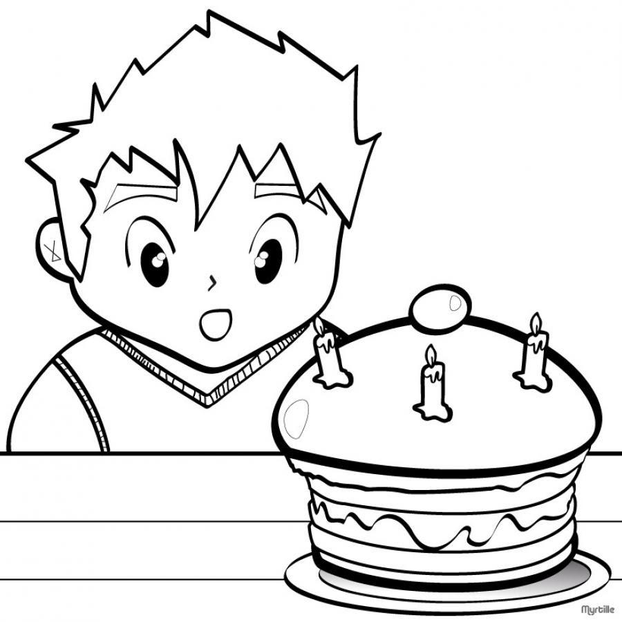 coloriage d un gateau d anniversaire