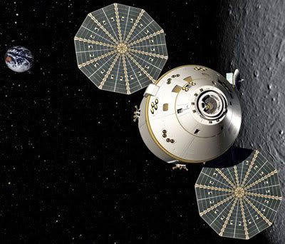 An artist's concept of the Orion spacecraft orbiting the Moon.