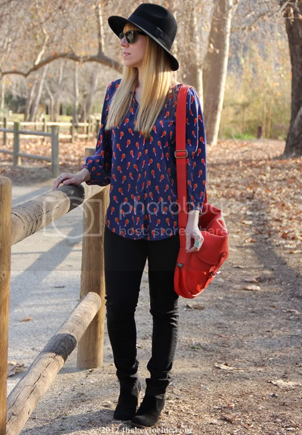 Old Navy bird print blouse, Cheap Monday jeans, Dolce Vita Jamison boots, Upla satchel, Los Angeles fashion blog, southern California style