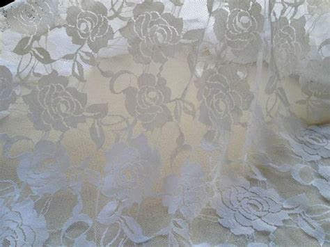White Stretch Lace Fabric Wedding Bridal Lace Tulle Vintage
