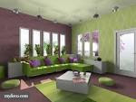 Beautiful Fresh Purple And Green Interior Color Scheme Living Room ...
