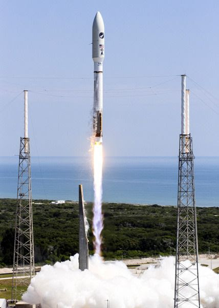 An Atlas V rocket carrying the U.S. Air Force's X-37B Orbital Test Vehicle and The Planetary Society's LightSail spacecraft lifts  off from Cape Canaveral Air Force Station in Florida...on May 20, 2015.