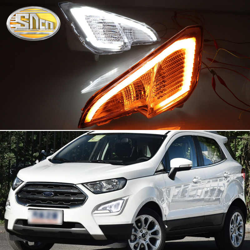 For Ford Ecosport 2018 2019 Led Daytime Running Lights With Yellow Turn Signal Lamp Daylight Fog Lamp Sncn 12v Waterproof
