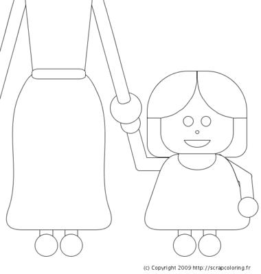 Coloriage Femme Enceinte Et Femme Avec Bébé