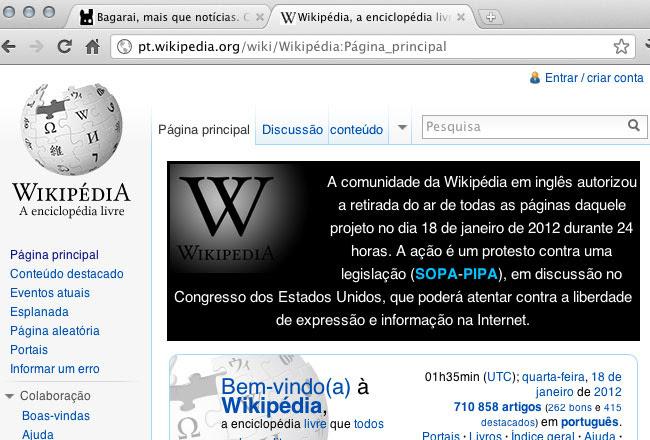 Página da Wikipédia em português (reprodução)