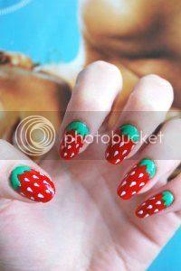 strawberry nail art, tutorial, easy nails, nail art blog