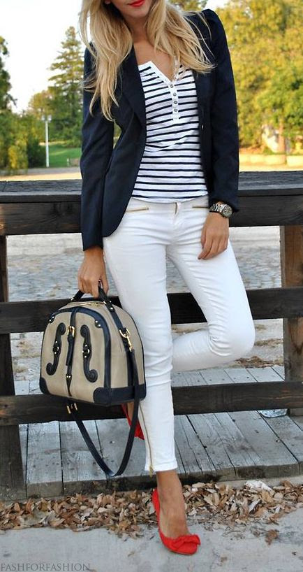 Nautical. Loving the red shoes!