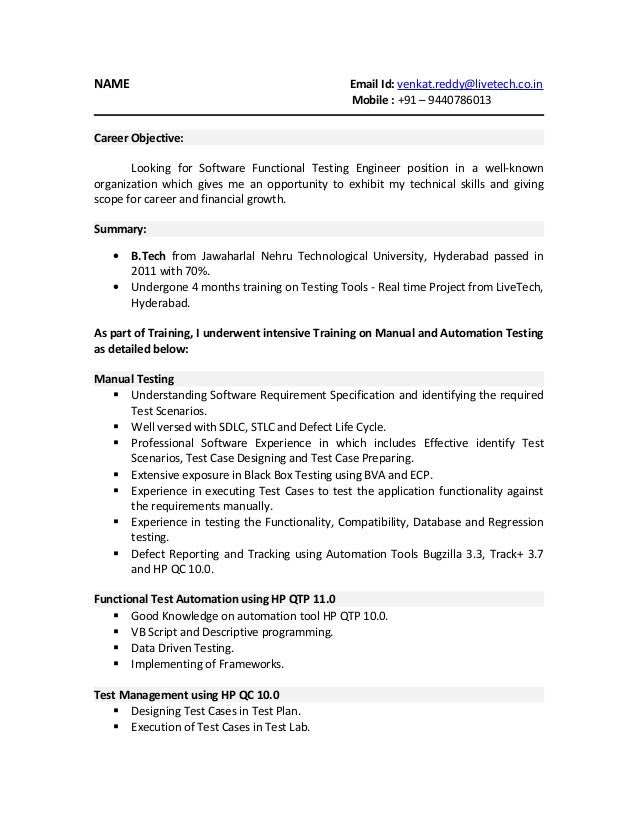 Resume Format For Software Testing Fresher