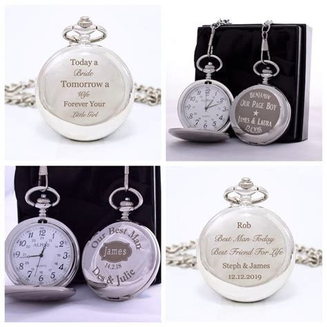 Engraved WEDDING Pocket Watch in Gift Box For Father of