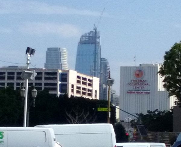 The Wilshire Grand Center as seen from The REEF L.A. on August 21, 2016.