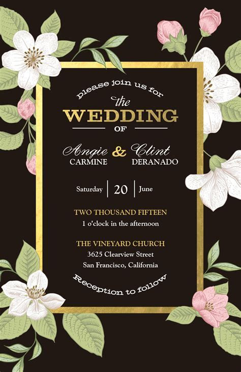 Floral and Gold Invitation   Weddings by Vistaprint