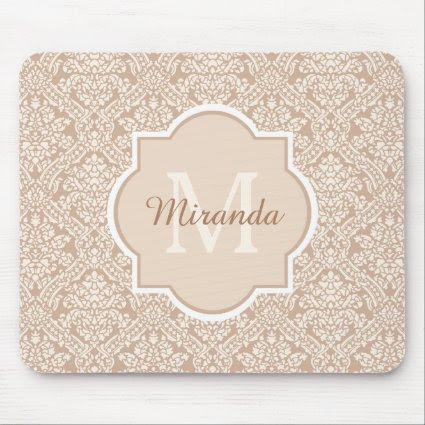 Elegant Monogram Feminine Tan Damask With Name Mouse Pad