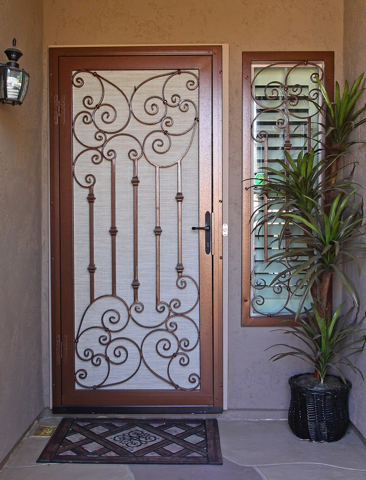 Traditional Scroll Security Screen Door by First Impression Security Doors