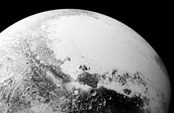 A synthetic perspective of Pluto, created with images taken by NASA's New Horizons spacecraft on July 14, 2015.
