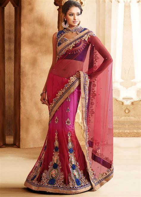 #Buy #Online Elegant #Net Lehenga Style #Saree with Dupion