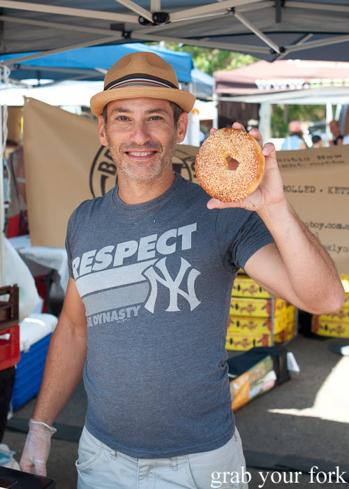 Michael Shafran of Brooklyn Boy Bagels at Frenchs Forest Organic Food Market