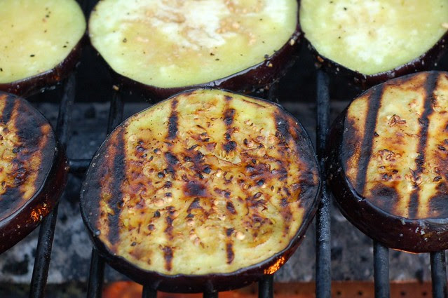 Roasting the eggplant slices by Eve Fox, Garden of Eating blog