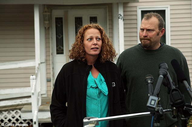 Kaci Hickox and her boyfriend Ted Wilbur spoke to the media today outside their home in Fort Kent, Maine after a judge ruled there was no need for her to restrict her movements