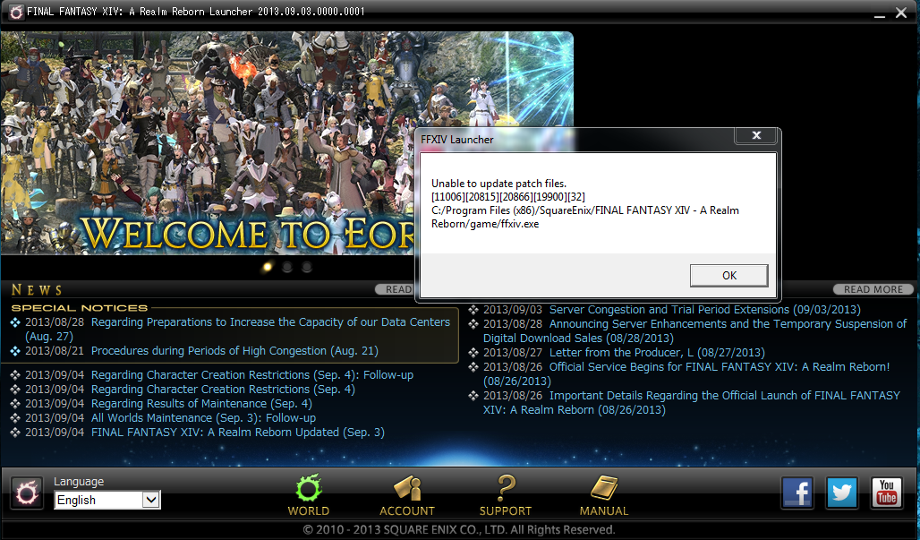 ffxiv unable to download patch files 30413 25008 2049