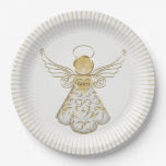 Gold Filigree Christmas Angel of Grace Light Rays 9 Inch Paper Plate