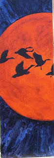 geese against the moon painting