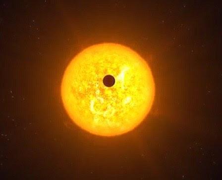 Impressão do artista de um trânsito Trappist-1 estrela.  Os telescópios faziam leituras à medida que cada planeta transitava a estrela do sistema, passando na frente dele e fazendo com que seu brilho mergulhasse