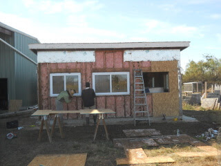 Summer Kitchen Window Removed, First OSB in Place