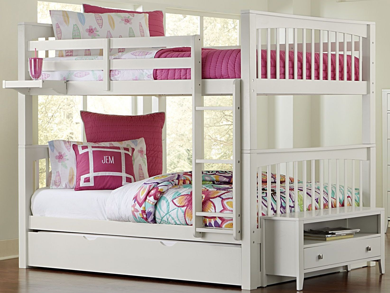 Pulse White Full Over Full Bunk Bed With Trundle, 33060NT ...