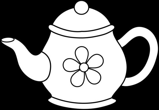 Flowers In Pots Coloring Pages Cute Teapot Line Art Free Clip