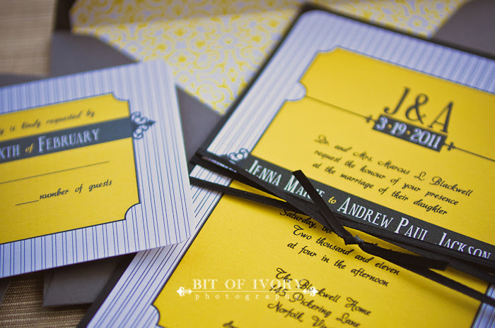 yellow and black and gray stationery wedding invitation suite