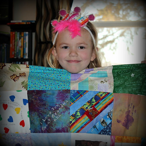 Capri LOVES her 'Future Quilter's Quilt'!