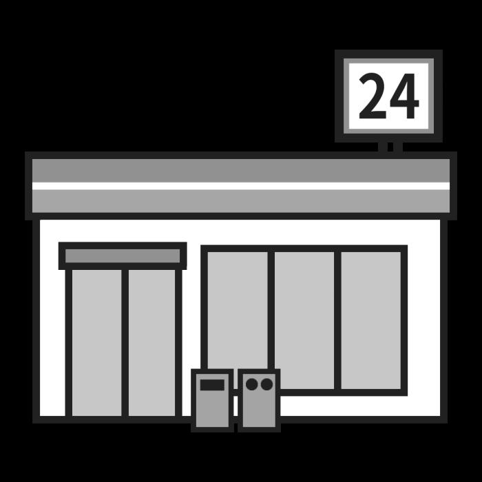 コンビニモノクロ建物4乗り物建物無料イラスト素材