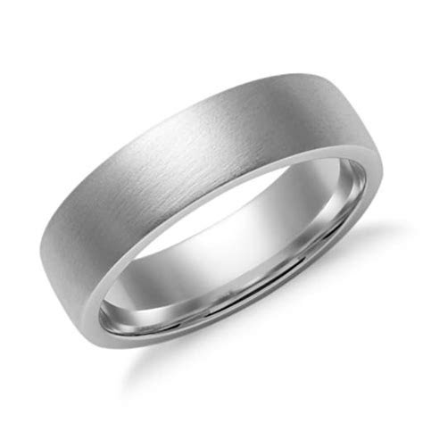 matte  dome comfort fit wedding ring   white gold