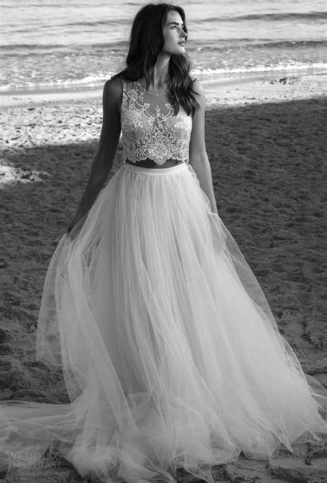 21 Stylish Two Piece Summer Beach Wedding Dresses
