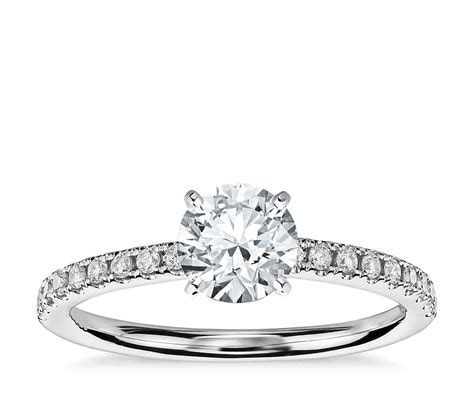 Riviera Pavé Diamond Engagement Ring in 14k White Gold (1