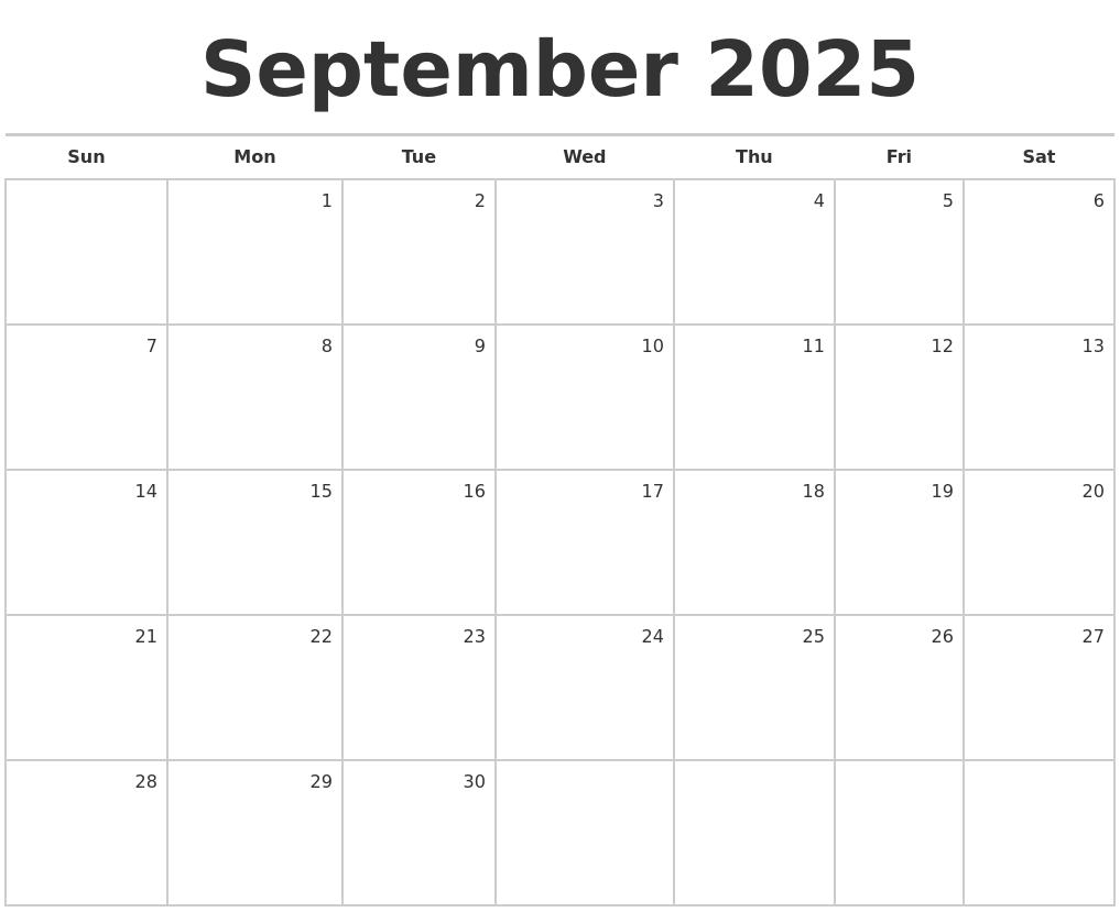 september 2025 blank monthly calendar