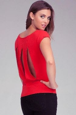 Bebe Pleated Shoulder Slit Back Tunic
