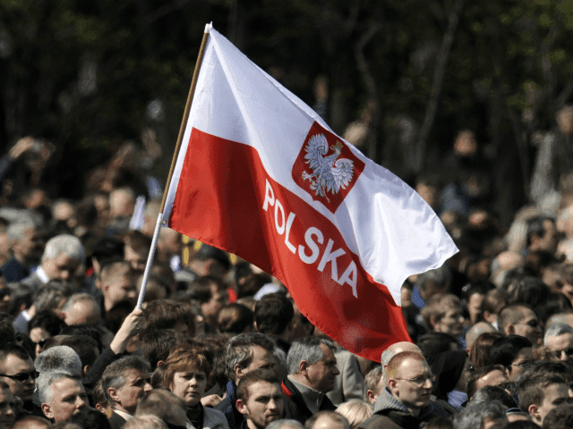 A man waves a Polish flag during a gathering on April 17, 2010 on Pilsudski square in Warsaw prior to a public memorial service for the 96 victims of last April 10's air crash in Smolensk that killed Poland's president Lech Kaczynski. Pedestrians and vehicles came to a halt at noon (1000 GMT) as sirens wailed, before a lone military bugler sounded a funeral air in front of the vast crowd massed on the capital's historic Pilsudski Square. AFP PHOTO / JOHN MACDOUGALL (Photo credit should read JOHN MACDOUGALL/AFP/Getty Images)