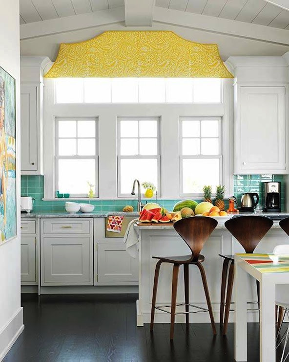 Turquoise and Yellow Kitchen - Contemporary - kitchen ...