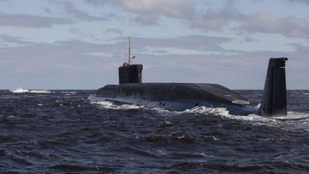 File pic of Russian nuclear submarine, the Yuri Dolgoruky (2009)