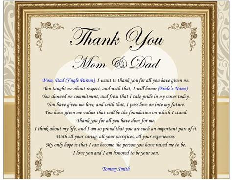Thank You Gifts for the Parents Bride & Groom Mom Dad Frame