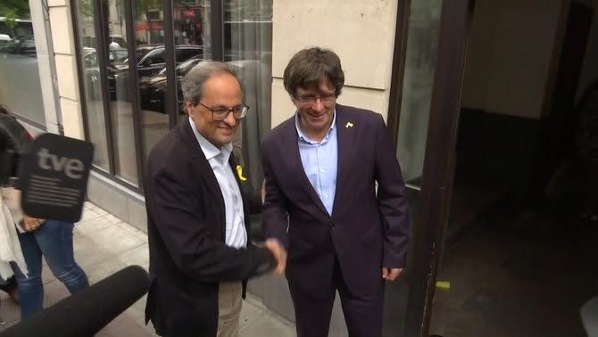 Carles Puigdemont i el president Quim Torra es reuneixen a Waterloo