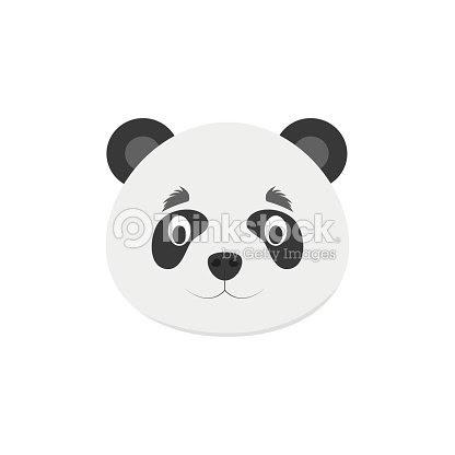 Cara De Panda En Estilo De Dibujos Animados Para Niños Ilustración