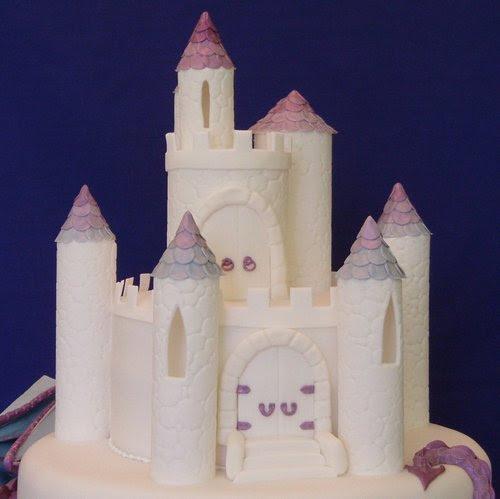 Purple Dragon and Castle Wedding Cake